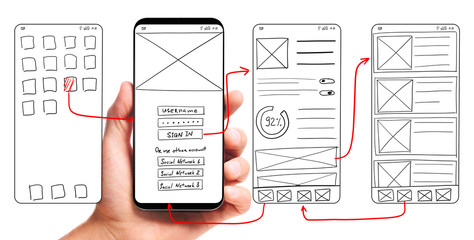UI development. Male hand holding smartphone with wireframed user interface screen prototypes of a mobile application on white background. Wall mural
