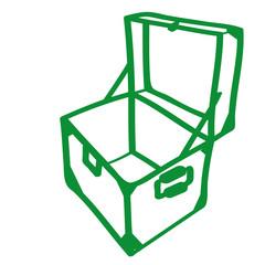 Handgezeichnete Kiste in grün