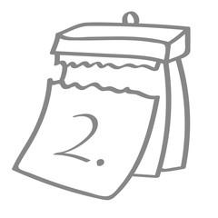 Hangezeichneter Kalender - Tag 02 in grau