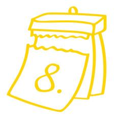Hangezeichneter Kalender - Tag 08 in gelb