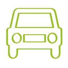 Handgezeichnetes Auto - Frontansicht in hellgrün