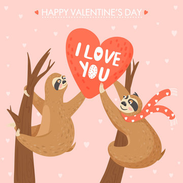 Valentine's day card with sloths in love. Happy couple of animal with valentines. Sloth giving other sloth a big heart. Vector illustration.