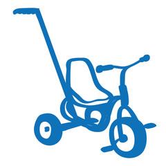 Handgezeichnetes Dreirad in dunkelblau