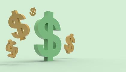 Dollar Symbol on Green pastel color tones on Background / 3d render