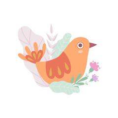 Cute Nesting Bird, Symbol of Spring Vector Illustration