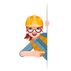 Fototapeta Foreman woman worker professional builder engineer look out corner promotion pointing finger cartoon female character design vector illustration obraz