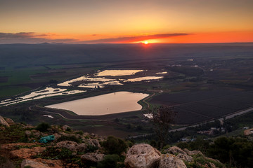 sunrise in Ahula vally, Israel