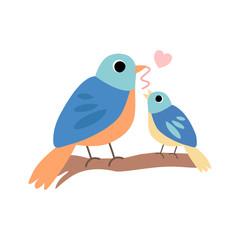 Mother Bird Feeding Her Chick, Cute Forest Birds Family Vector Illustration on White Background. Vector Illustration