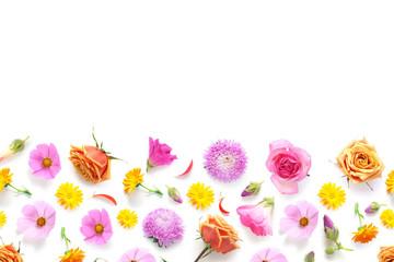 Fototapete - Flowers banner flat lay.