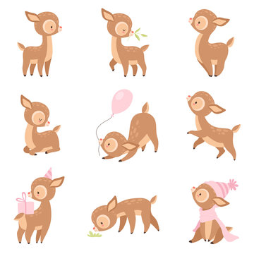 Cute Baby Deer, Adorable Brown Forest Animal in Different Situations Set Vector Illustration