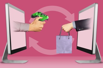 digital concept, two hands from computers. wireless controller and hand with shopping bag. 3d illustration