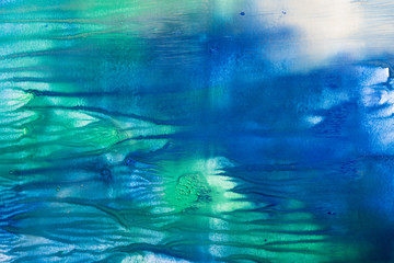 Blue and green texture guache painting