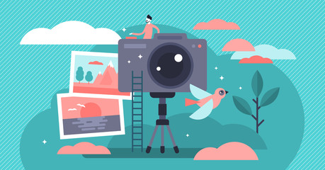 Photographer vector illustration. Flat tiny camera picture person concept.