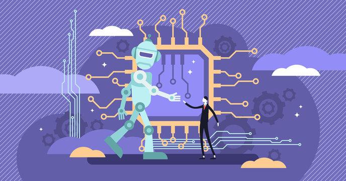 AI ethics vector illustration. Flat tiny robot intelligence behavior perception logic.