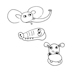 set of cute little animals zoo. hand-drawn vector illustration on white background