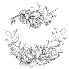 Black and white pencil sketch illustration, wreath of tulip, peony and eucalyptus.
