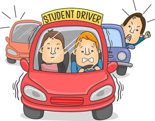 Man Car Student Driver Illustration