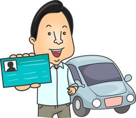 Man Driver License Illustration