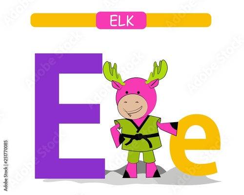 photo about Letter E Printable called Letter E and amusing cartoon elk. Pets alphabet a-z. Adorable