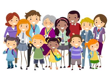 Stickman Kids Parents Teachers Students