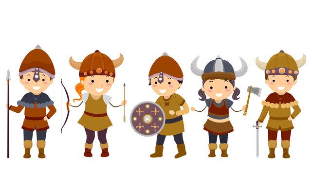 Stickman Kids Viking Outfit Illustration