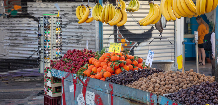 Fruits and nuts on a street market stall, Athens Greece