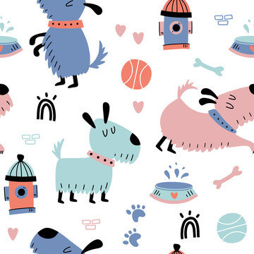 Seamless pattern with small dogs