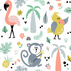 Fototapete - Seamless background with jungle animals