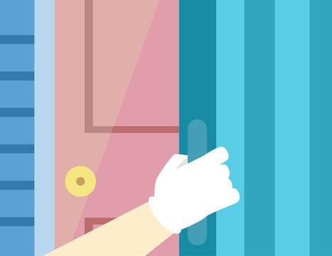 Hurricane Preparedness Door Shutter Illustration
