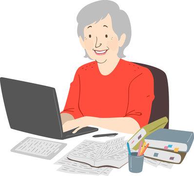 Senior Woman Writer Laptop Notes Illustration