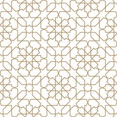 Seamless arabic geometric ornament in golden color.