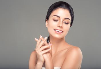 Healthy skin woman beauty female natural makeup pure skin portrait