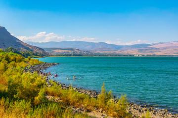 Fototapete - Sea of Galilee viewed from mount Arbel in Israel
