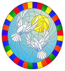 Illustration in stained glass style with a pair of white doves on the background of the daytime sky and clouds, oval picture in a bright frame