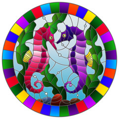 Illustration in stained glass style with a pair of fish seahorse on the background of water and algae,round  picture in a bright frame