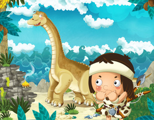 Photo sur Plexiglas Dinosaurs cartoon scene with caveman near the sea shore looking at some happy and funny giant dinosaur diplodocus - illustration for children