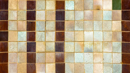 Multi colors of old ceramic tiled texture background.
