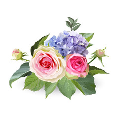 Bouquet of hydrangea flowers with roses and leaves. Isolated floral object on white background.