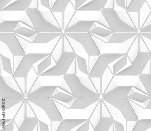 3d White Tiles Architectural Design Panels Shaded Geometric Modules