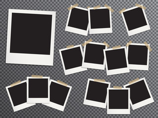 Blank photo frames set hanging on adhesive tape