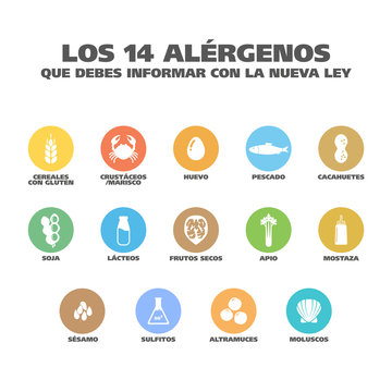 """Isolated Vector Logo Set Badge Ingredient Warning Label. Colorful Allergens icons. Food Intolerance. """"The 14 allergens you should report with the new law"""" written in Spanish"""