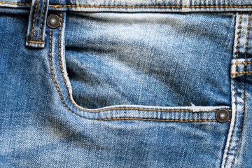 Side pocket of blue jeans