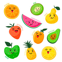 Vector collection of cute fruits. Funny set of fruits on a white background