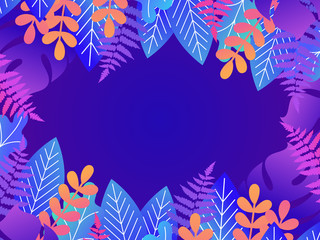 Floral background with copy space for text. Vector illustration in trendy style and bright vibrant gradient colors