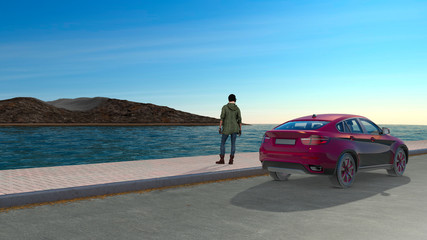 Travel by car, panorama. Sea and islands, coasts. Sports and modern car parked by the sea. Sidewalk with a girl who admires the view. Silence and solitude. 3d rendering