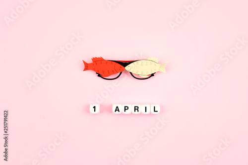 April Fools' Day celebration  Glasses with paper fish and