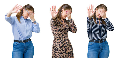 Collage of beautiful middle age woman over isolated background covering eyes with hands and doing stop gesture with sad and fear expression. Embarrassed and negative concept.