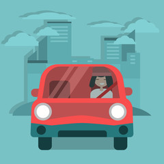 Young character driving a red car. Urban lifestyle. Flat cartoon illustration, clip art