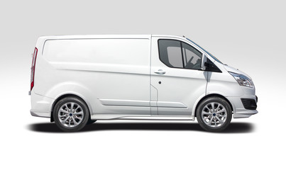 White van side view isolated on white