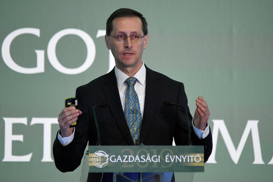 Hungarian Finance Minister Varga speaks during a business conference in Budapest.